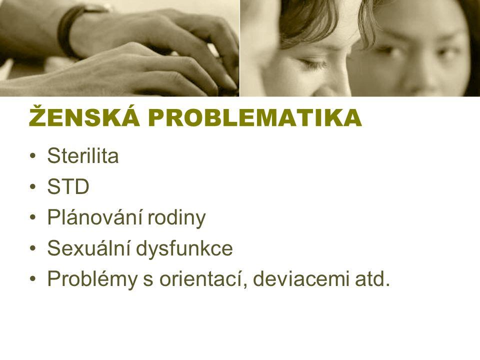 ŽENSKÁ PROBLEMATIKA Sterilita STD Plánování rodiny Sexuální dysfunkce