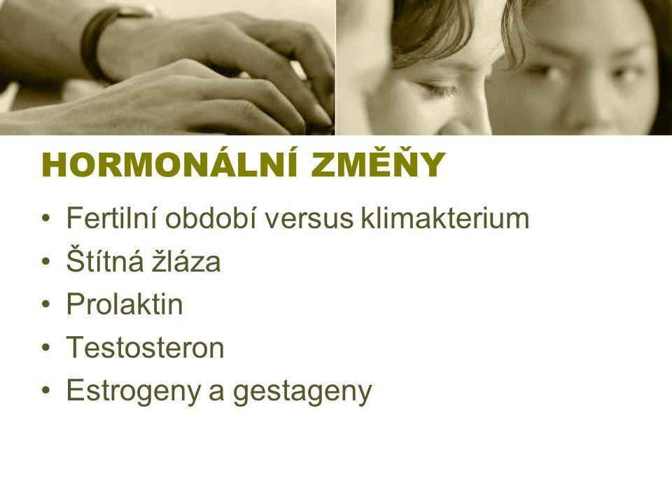 HORMONÁLNÍ ZMĚŇY Fertilní období versus klimakterium Štítná žláza