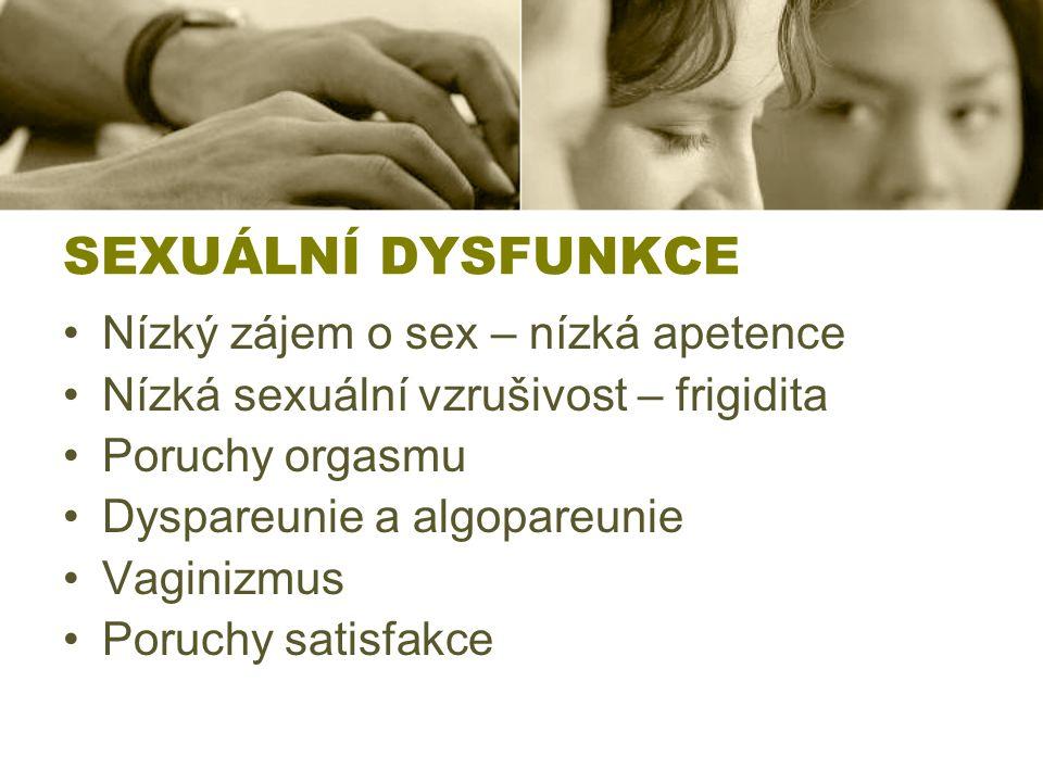 SEXUÁLNÍ DYSFUNKCE Nízký zájem o sex – nízká apetence