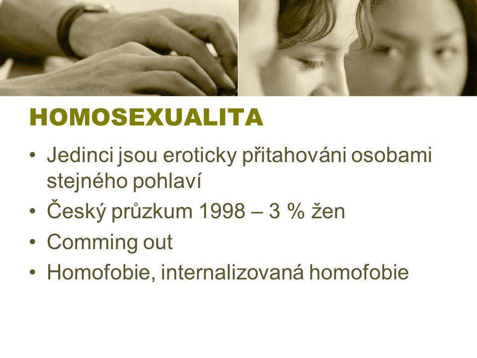 HOMOSEXUALITA Jedinci jsou eroticky přitahováni osobami stejného pohlaví. Český průzkum 1998 – 3 % žen.