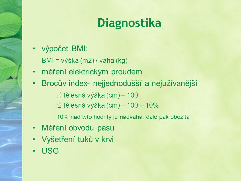 Diagnostika výpočet BMI: BMI = výška (m2) / váha (kg)