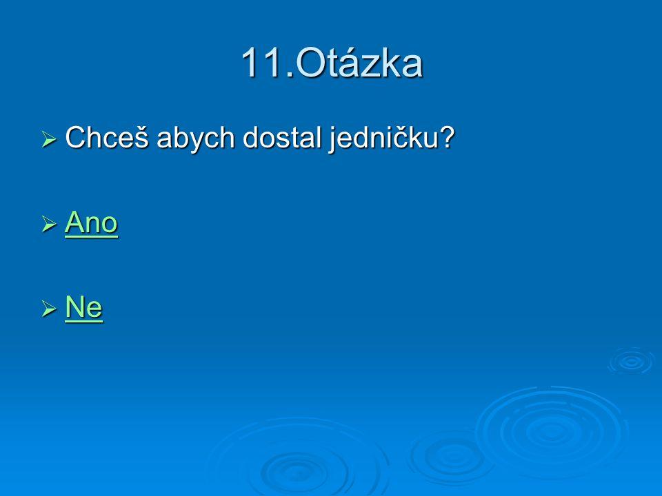 11.Otázka Chceš abych dostal jedničku Ano Ne