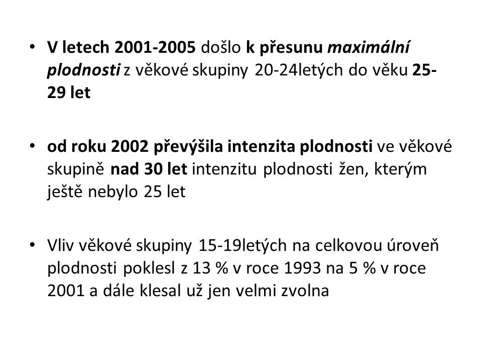 V letech 2001-2005 došlo k přesunu maximální plodnosti z věkové skupiny 20-24letých do věku 25-29 let