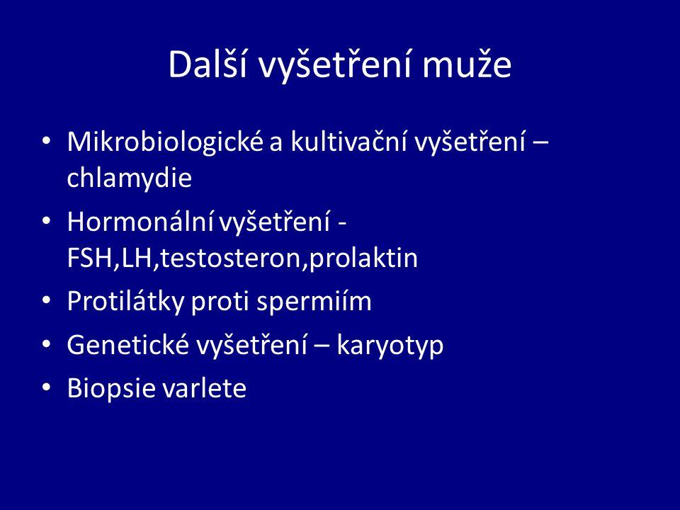 Další vyšetření muže Mikrobiologické a kultivační vyšetření – chlamydie. Hormonální vyšetření - FSH,LH,testosteron,prolaktin.