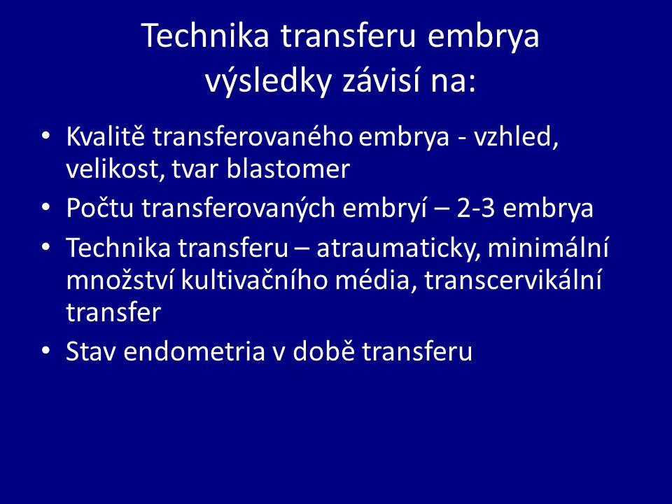 Technika transferu embrya výsledky závisí na: