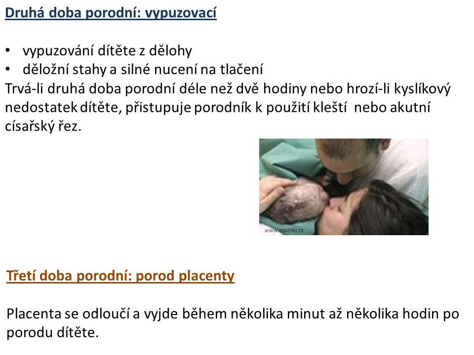Druhá doba porodní: vypuzovací vypuzování dítěte z dělohy