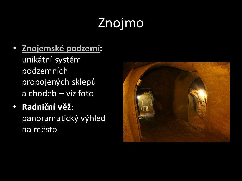Znojmo Znojemské podzemí: unikátní systém podzemních propojených sklepů a chodeb – viz foto.