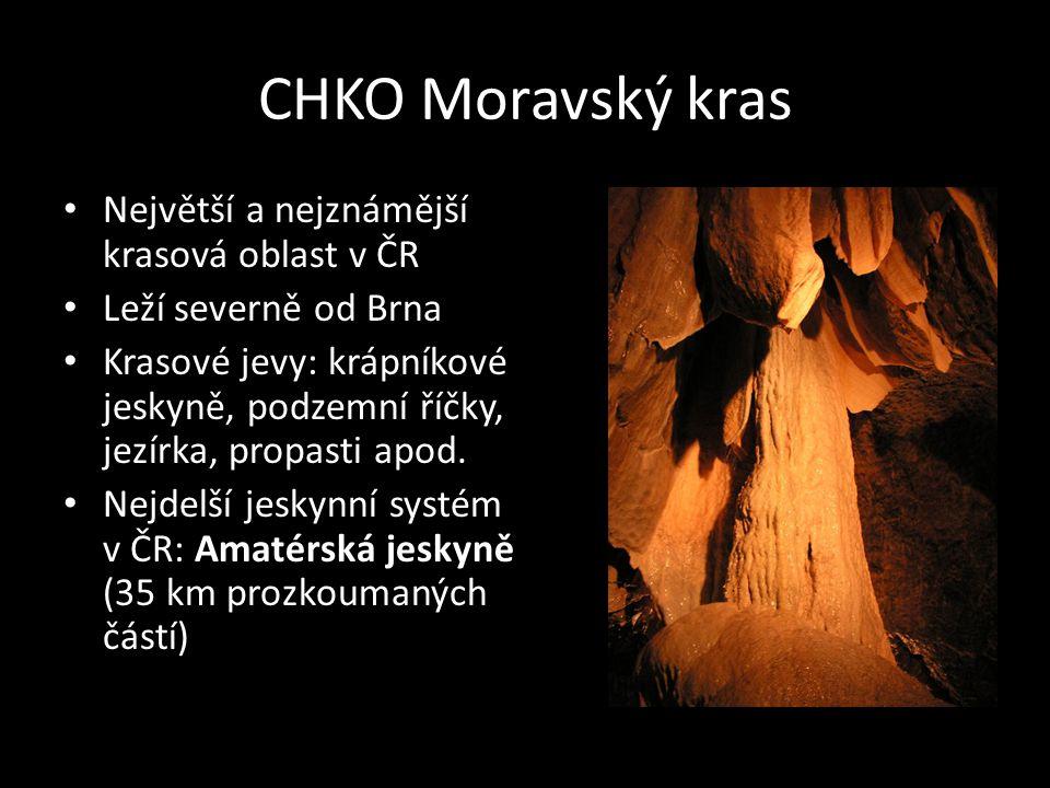 CHKO Moravský kras Největší a nejznámější krasová oblast v ČR