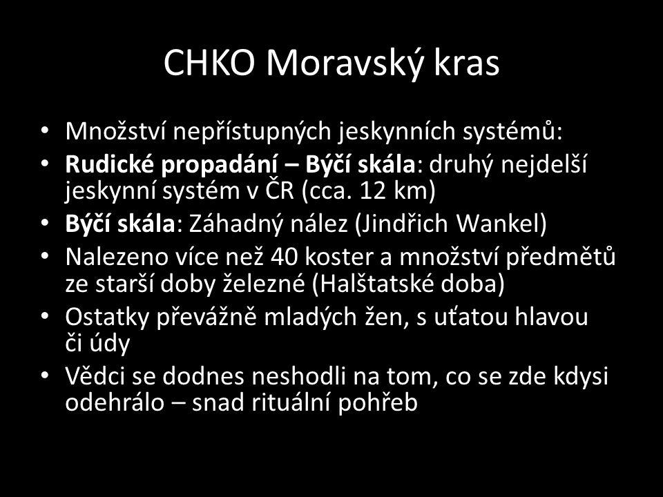 CHKO Moravský kras Množství nepřístupných jeskynních systémů: