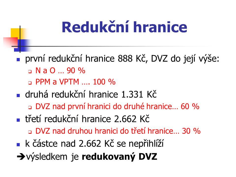 Redukční hranice první redukční hranice 888 Kč, DVZ do její výše: