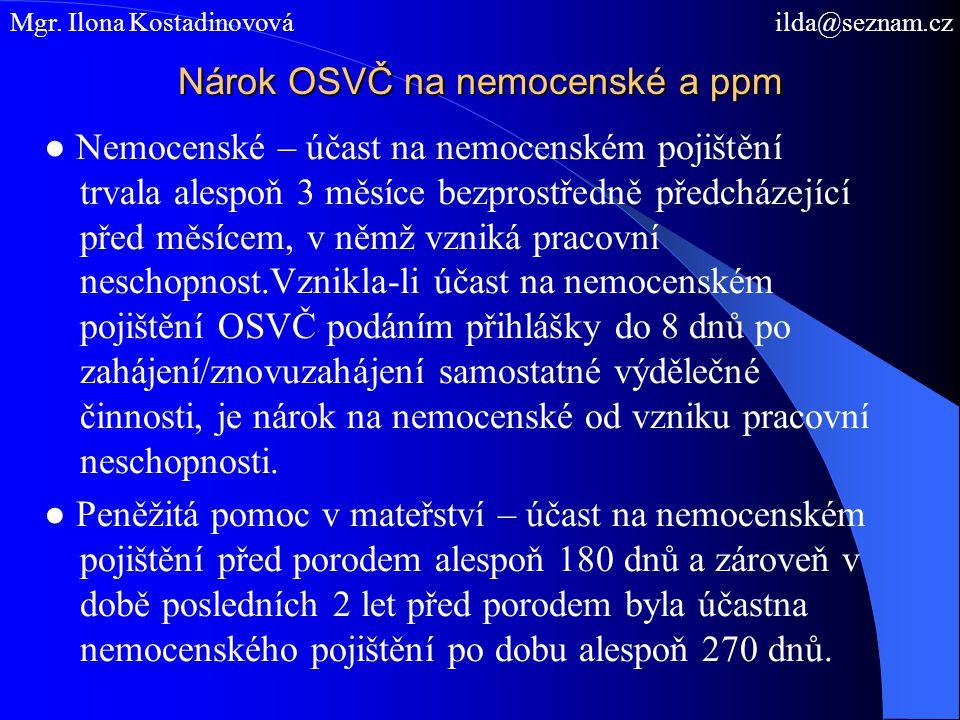 Nárok OSVČ na nemocenské a ppm
