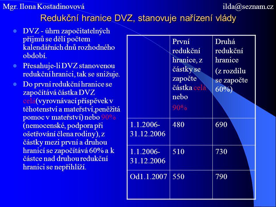 Redukční hranice DVZ, stanovuje nařízení vlády
