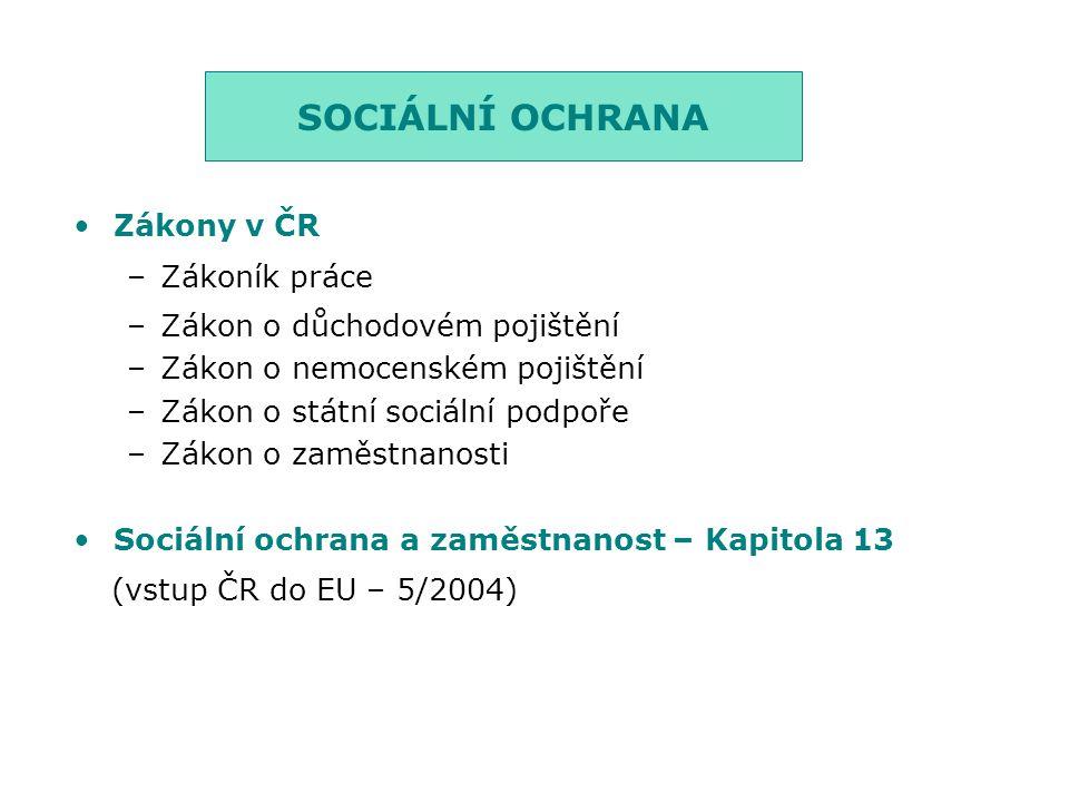 SOCIÁLNÍ OCHRANA (vstup ČR do EU – 5/2004) Zákony v ČR Zákoník práce