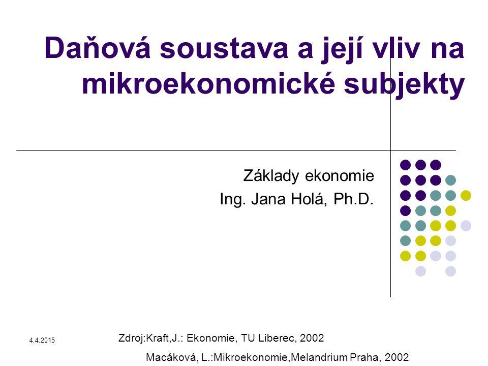 Daňová soustava a její vliv na mikroekonomické subjekty