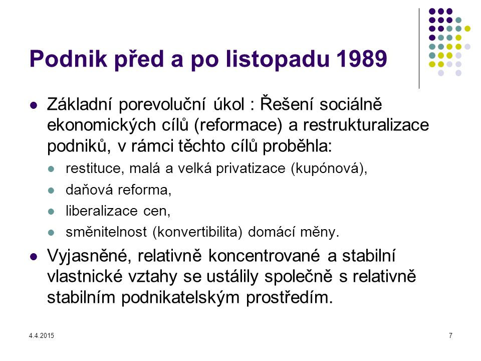 Podnik před a po listopadu 1989