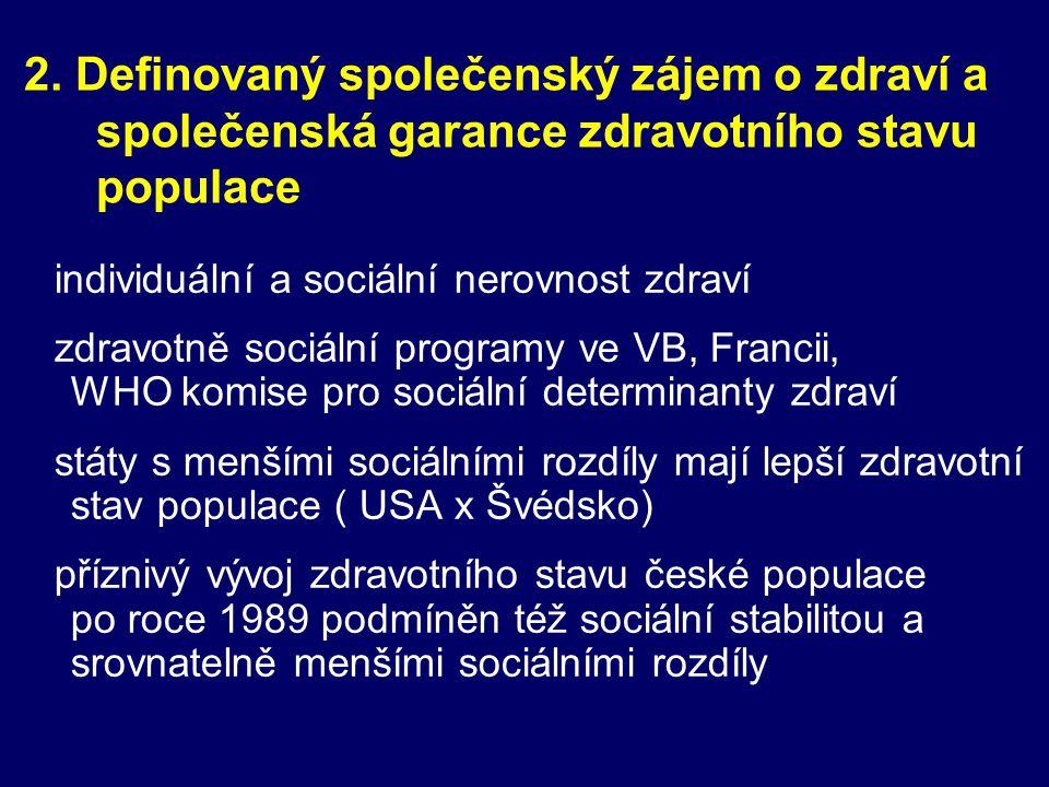 2. Definovaný společenský zájem o zdraví a společenská garance zdravotního stavu populace