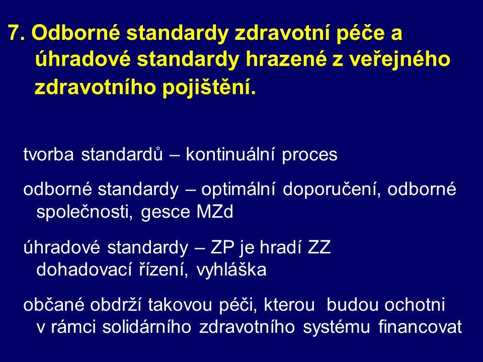 7. Odborné standardy zdravotní péče a úhradové standardy hrazené z veřejného zdravotního pojištění.