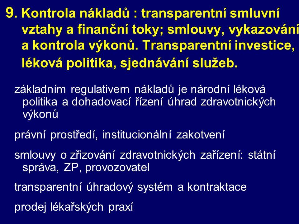 9. Kontrola nákladů : transparentní smluvní vztahy a finanční toky; smlouvy, vykazování a kontrola výkonů. Transparentní investice, léková politika, sjednávání služeb.
