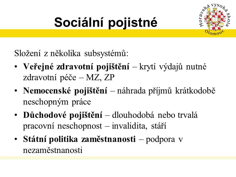 Sociální pojistné Složení z několika subsystémů:
