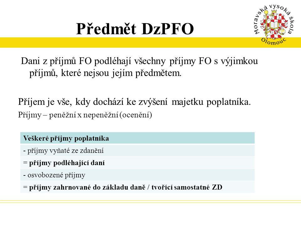Předmět DzPFO Dani z příjmů FO podléhají všechny příjmy FO s výjimkou příjmů, které nejsou jejím předmětem.