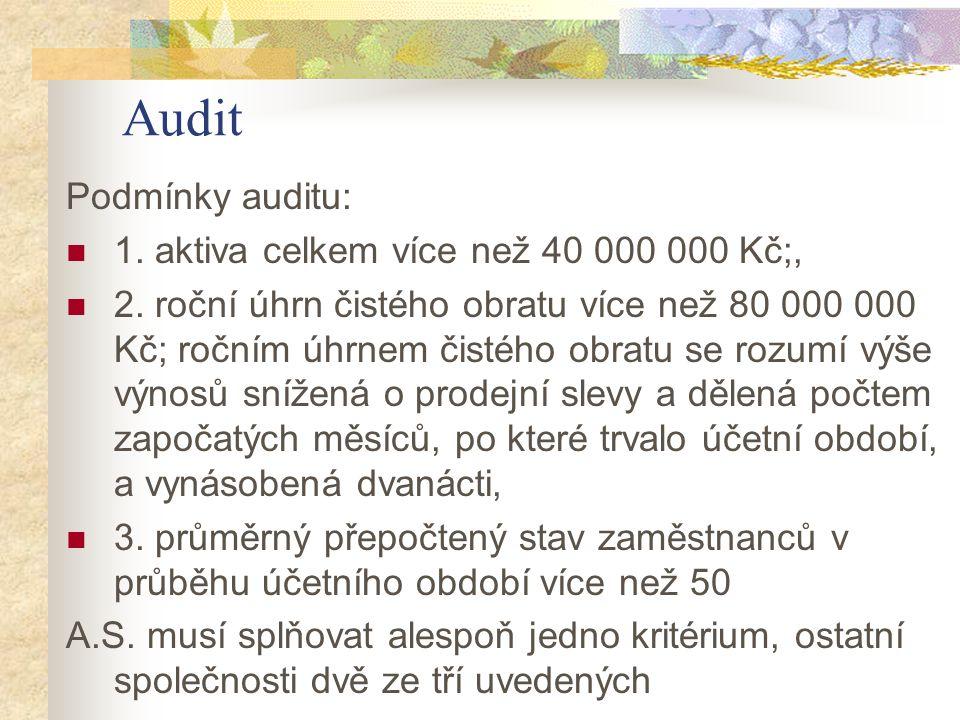 Audit Podmínky auditu: 1. aktiva celkem více než 40 000 000 Kč;,