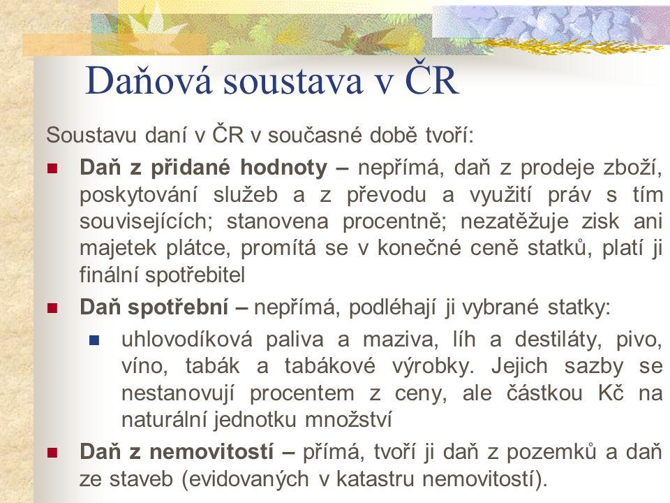 Daňová soustava v ČR Soustavu daní v ČR v současné době tvoří: