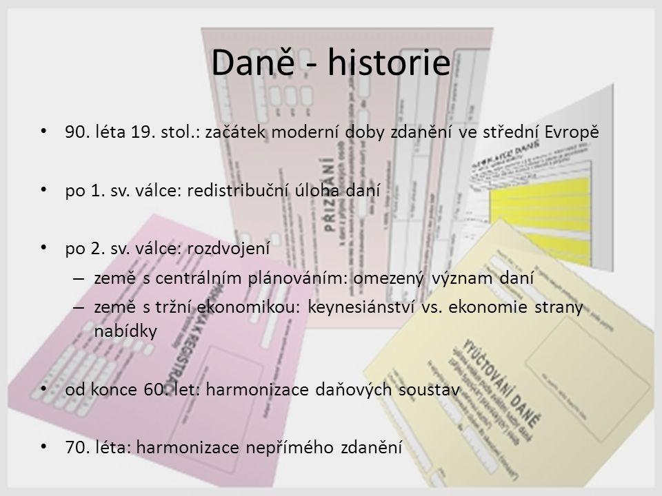 Daně - historie 90. léta 19. stol.: začátek moderní doby zdanění ve střední Evropě. po 1. sv. válce: redistribuční úloha daní.