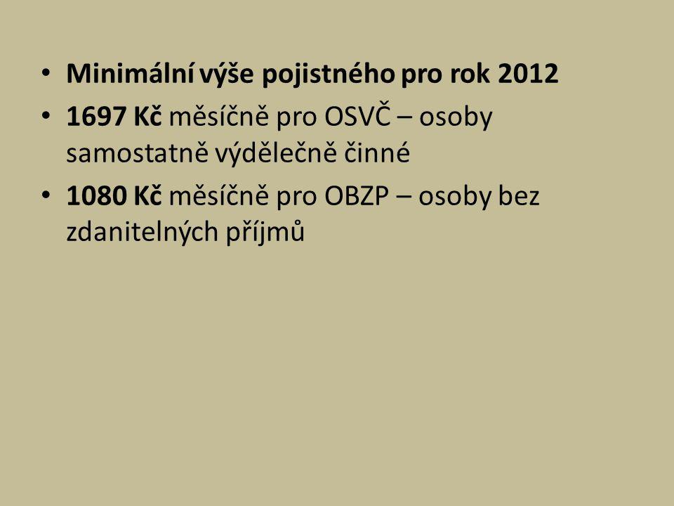 Minimální výše pojistného pro rok 2012