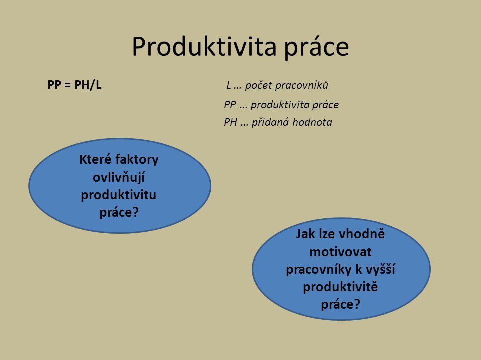 Produktivita práce Které faktory ovlivňují produktivitu práce
