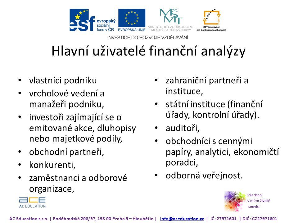 Hlavní uživatelé finanční analýzy