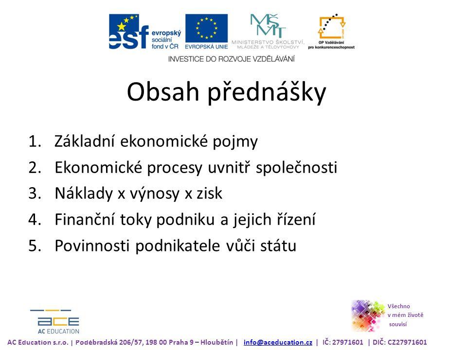 Obsah přednášky Základní ekonomické pojmy