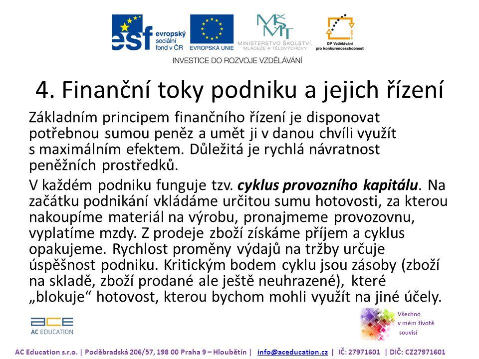 4. Finanční toky podniku a jejich řízení