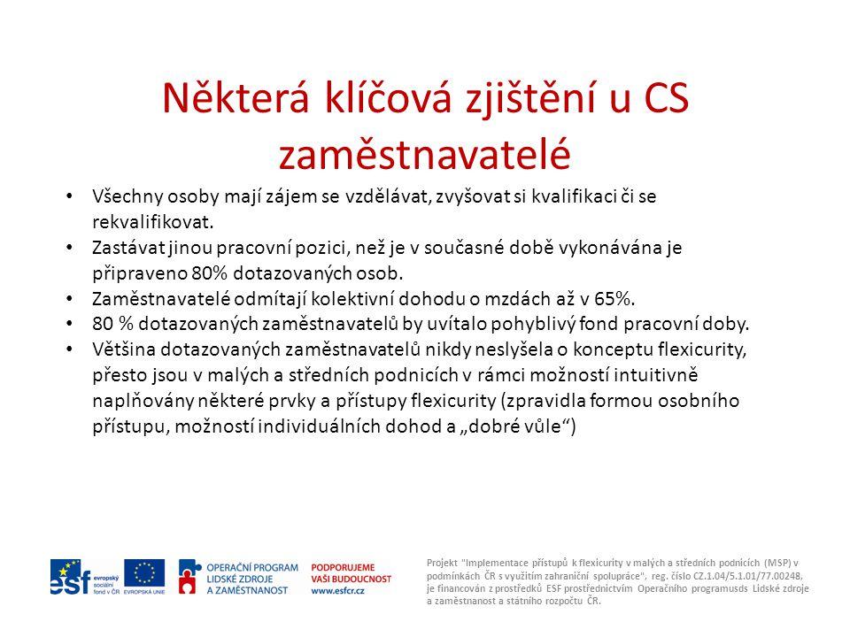 Některá klíčová zjištění u CS zaměstnavatelé