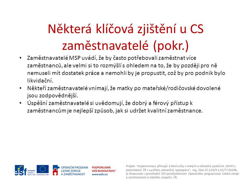 Některá klíčová zjištění u CS zaměstnavatelé (pokr.)