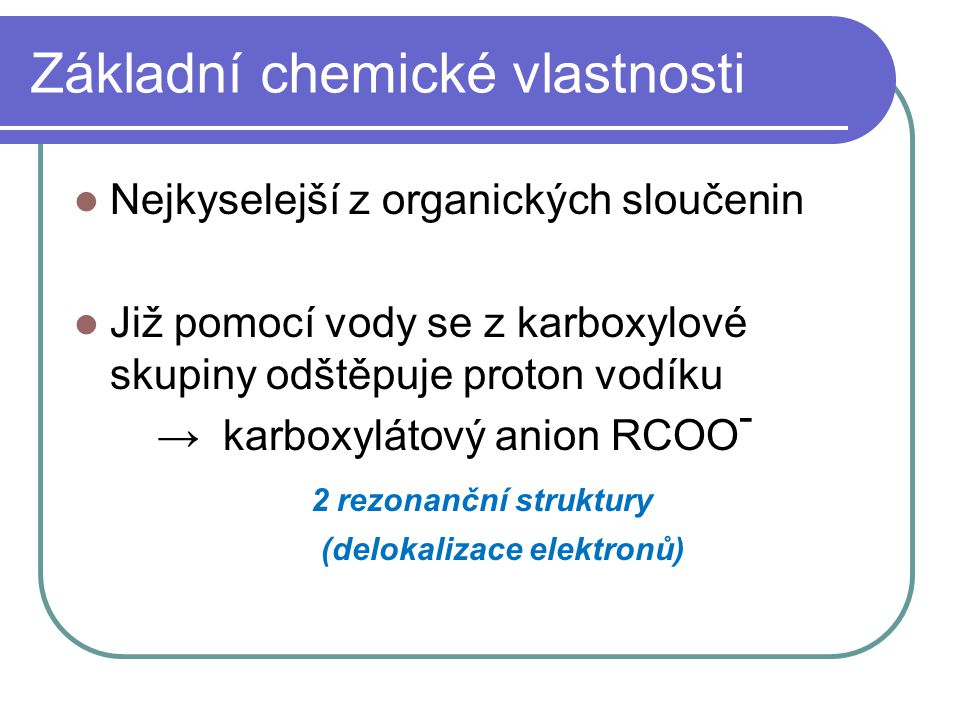 Základní chemické vlastnosti