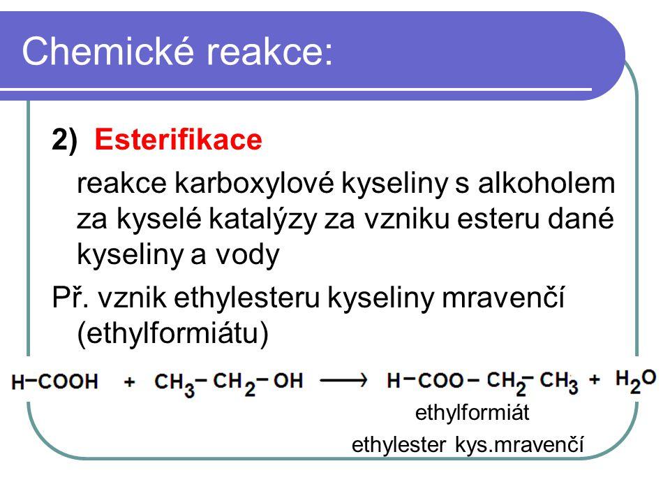 Chemické reakce: 2) Esterifikace