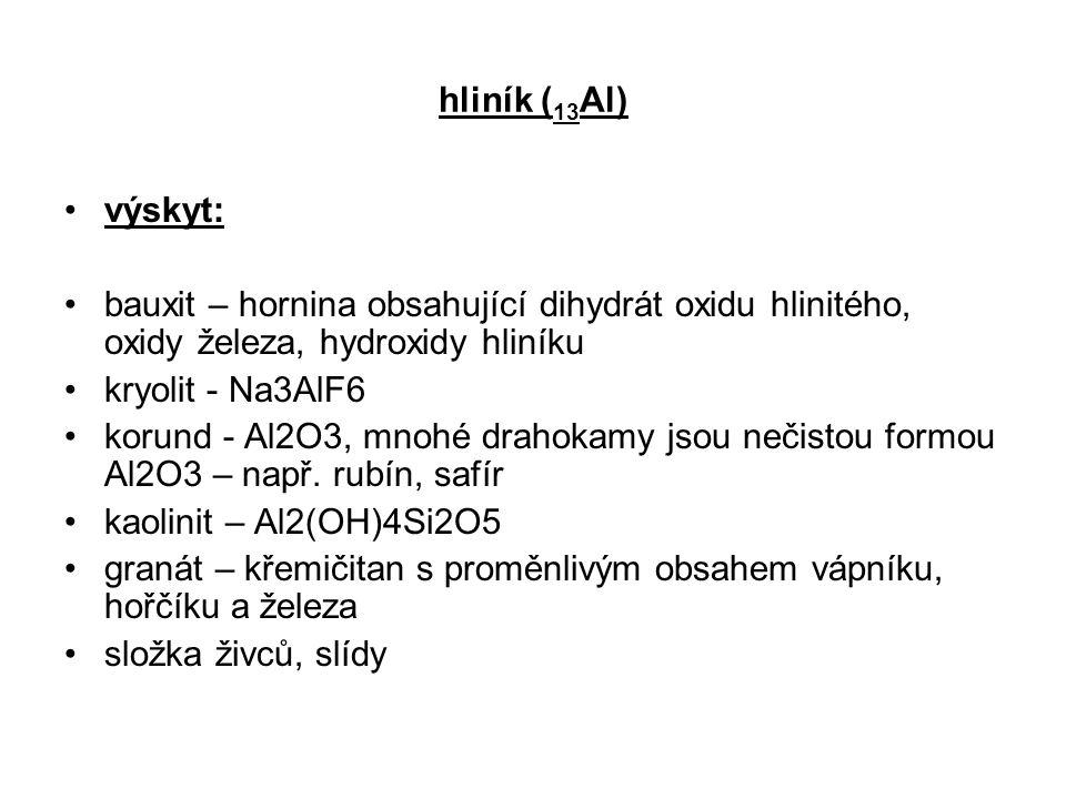 hliník (13Al) výskyt: bauxit – hornina obsahující dihydrát oxidu hlinitého, oxidy železa, hydroxidy hliníku.