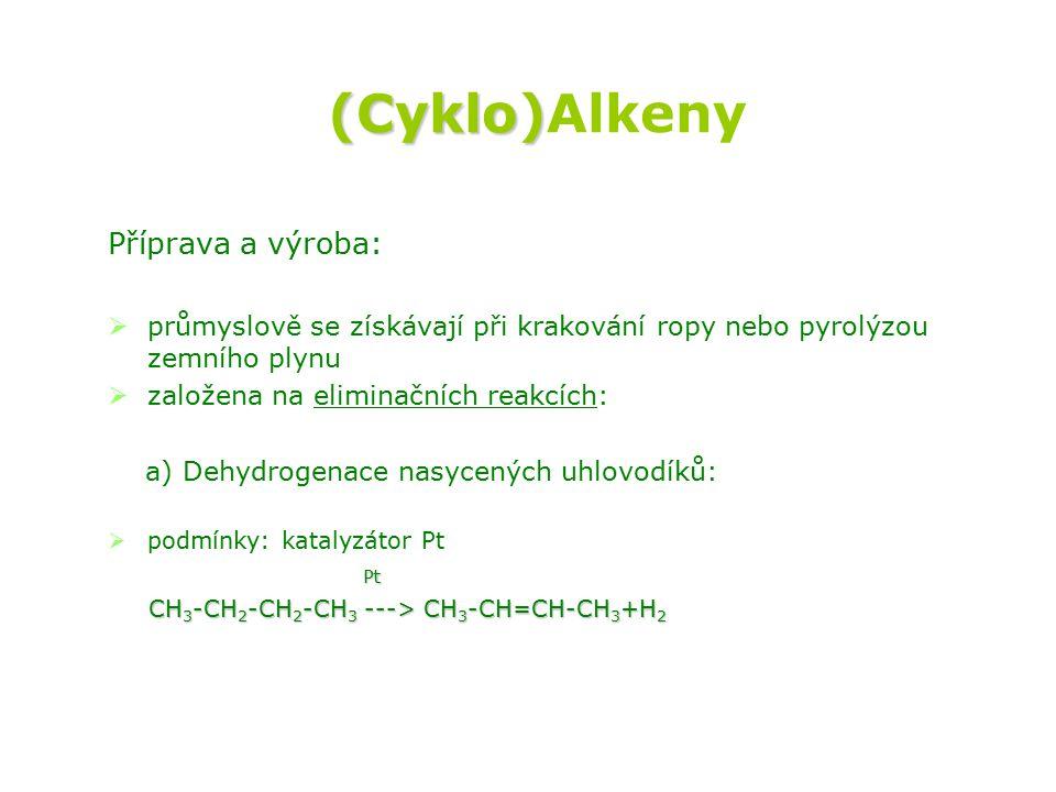 (Cyklo)Alkeny Příprava a výroba: