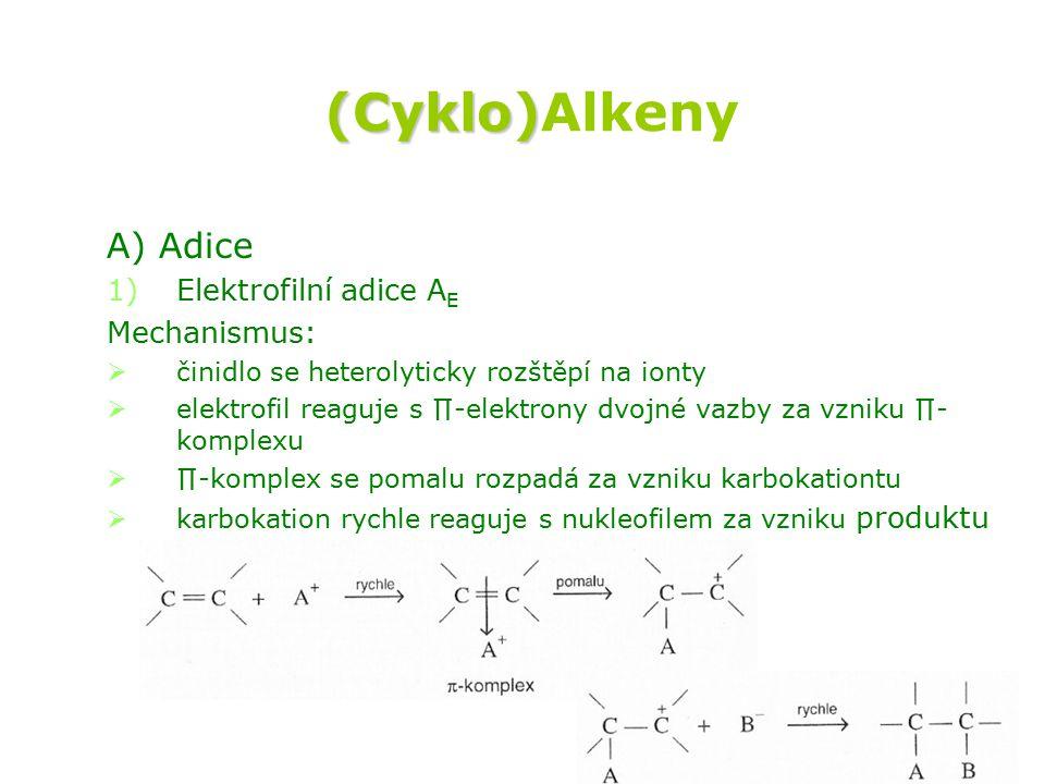 (Cyklo)Alkeny A) Adice Elektrofilní adice AE Mechanismus: