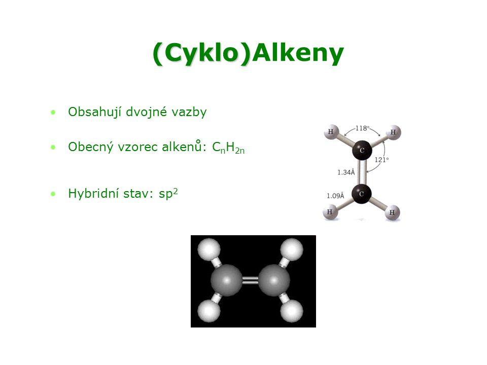 (Cyklo)Alkeny Obsahují dvojné vazby Obecný vzorec alkenů: CnH2n