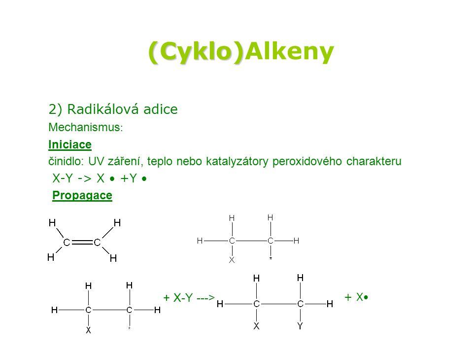 (Cyklo)Alkeny 2) Radikálová adice Mechanismus: Iniciace