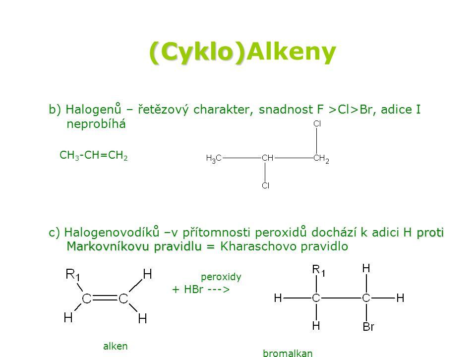 (Cyklo)Alkeny b) Halogenů – řetězový charakter, snadnost F >Cl>Br, adice I neprobíhá. CH3-CH=CH2.