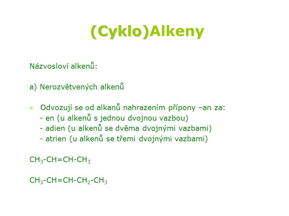 (Cyklo)Alkeny Názvosloví alkenů: a) Nerozvětvených alkenů