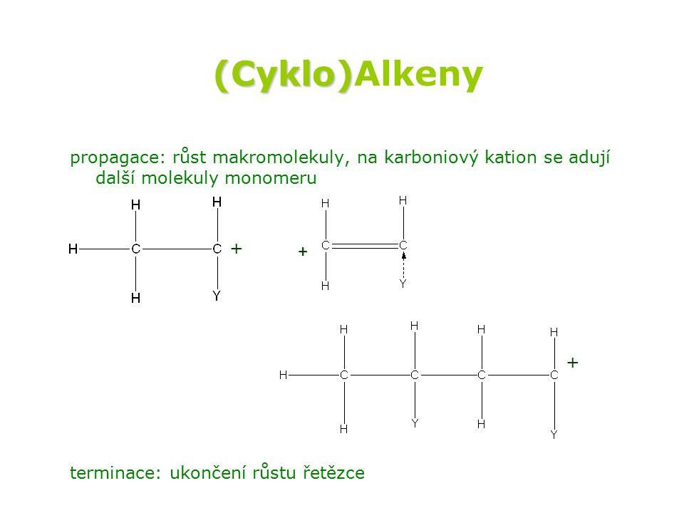 (Cyklo)Alkeny propagace: růst makromolekuly, na karboniový kation se adují další molekuly monomeru.