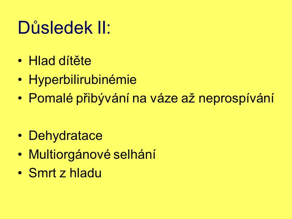 Důsledek II: Hlad dítěte Hyperbilirubinémie