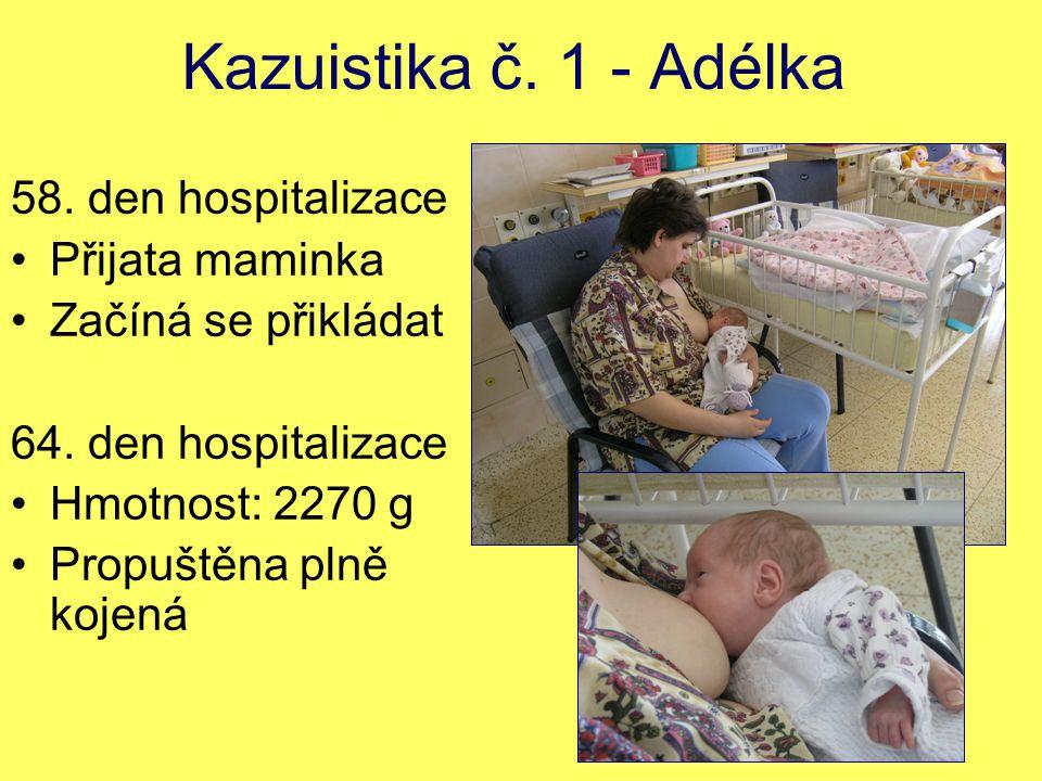 Kazuistika č. 1 - Adélka 58. den hospitalizace Přijata maminka