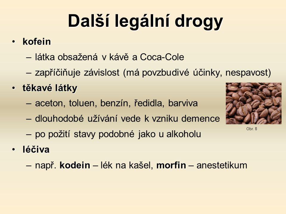 Další legální drogy kofein látka obsažená v kávě a Coca-Cole