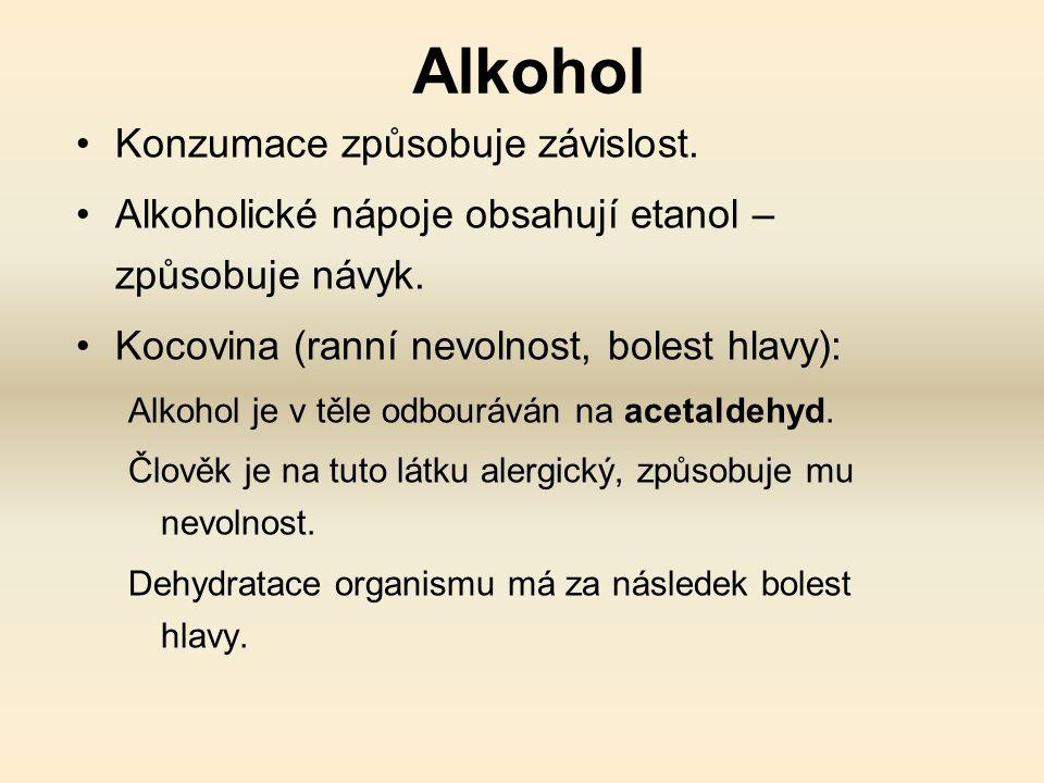 Alkohol Konzumace způsobuje závislost.