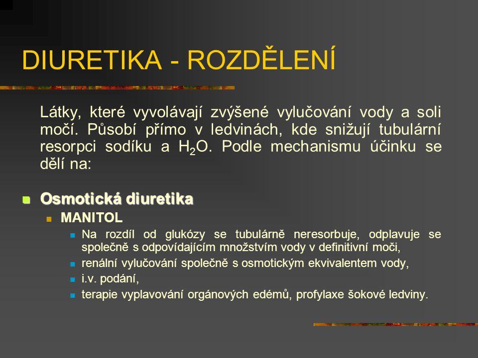 DIURETIKA - ROZDĚLENÍ