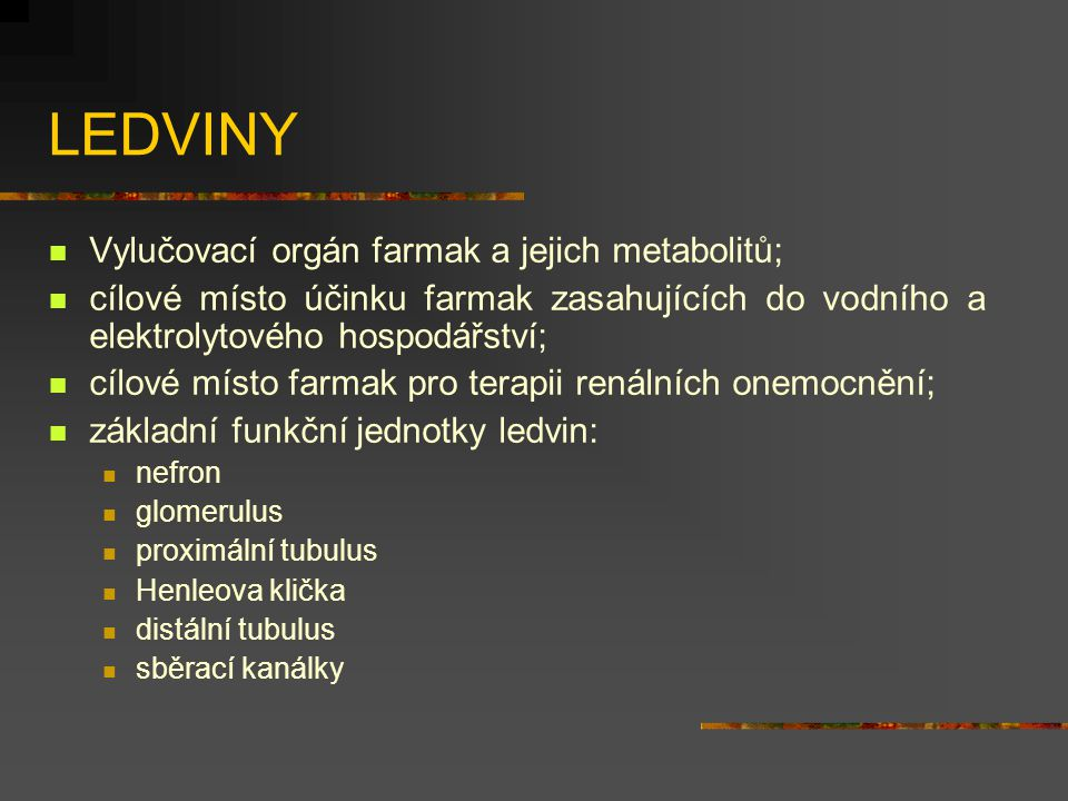 LEDVINY Vylučovací orgán farmak a jejich metabolitů;